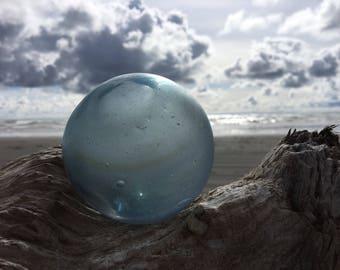 Japanese Glass Fishing Float, Frosted, Alaska Beachcombed, Amber Swirls