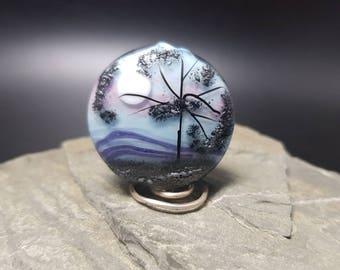 Handmade lampwork glass bead - Moonlight Tree
