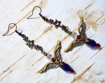 Red, White, Blue and Brass Patriotic Boho Earrings (3602)