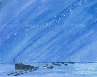 "Print of Original Watercolor ""Under the Stars"" by Sarah Marie Bevard Dogsled Art Dogsledding Alaska Northern Lights"