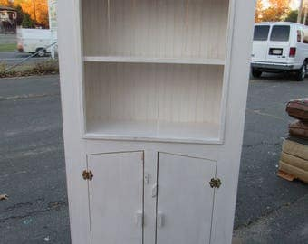 "Farm House Farm Primitive hutch in white , 39"" at widest point top, 15"" deep, 6' tall"