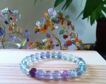 "Handmade Genuine Rainbow Fluorite Bracelet, Natural Colorful Flourite Gemstone Stretch Bracelet, Meditation Healing Flourite 7.5"" Bracelet"