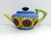 Sunflowers and Bumble Bees Tea Pot, Vintage Tea or Coffee Pot, Hand or Tole Painted, Yellow Sunflowers,Yellow Bumble Bees,Decorative Tea Pot