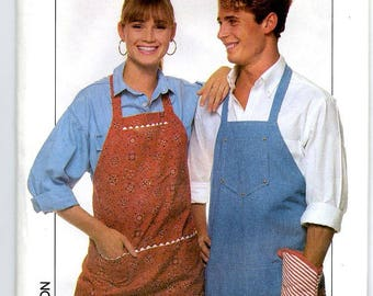 Vintage 80s Sewing Pattern Misses' or Men's Apron Pattern One Size # 0009 Seamstress Tailor Supplies