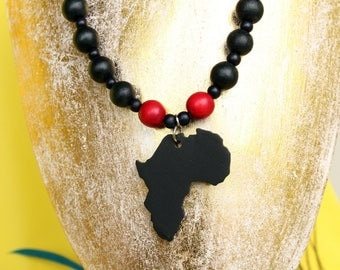 African pendant necklace wooden bead RGB Afrocentric neckpiece