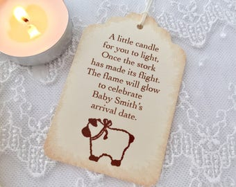 Candle Favor Tags Baby Shower Neutral Lamb Once the Stork has made its Flight Set of 10