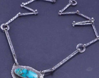 Turquoise Necklace, Raw Silver, Boho, Sterling Silver, Turquoise Pendant, Silversmith, Handmade, OOAK