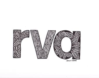RVA Print Richmond Lovers from Original Art work by Dawn Kowal