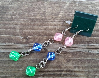 Roll the Dice - Pastel Dice Earrings in Green pink and green - Bunco Inspired Jewelry - Extra Long Earrings