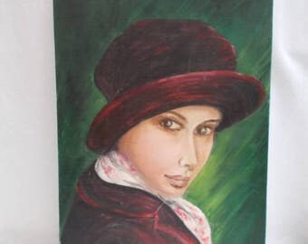 SALE 10% OFF Portrait of Woman Painting.  Paris in the Winter Signed ODY.  (Odette Prieur) Vintage French   (5459)