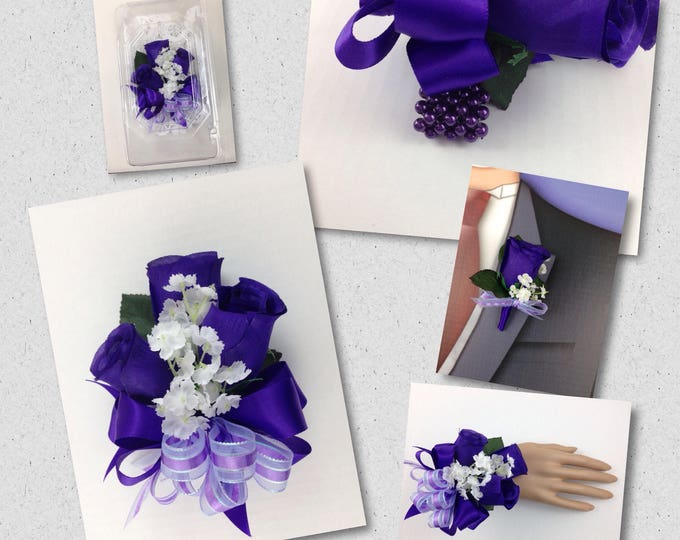 New Artificial Regency Purple Rose Corsage, Purple Rose Mother's Corsage, Purple Corsage, Purple Bout
