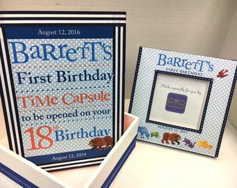 Time Capsule and First Birthday Frame Set