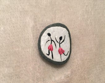 Hand Painted Stone Refrigerator Dancers Magnet