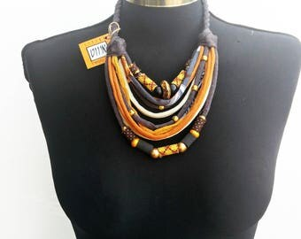 African style recycle fabric necklace-women soft jewelry-ethnic pattern handmade beads-summer fashion-grey-ocre-offwithe short necklace