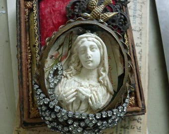 Antique French Virgin Mary Meerschaum Altar, Talisman for the Passionate, by RusticGypsyCreations