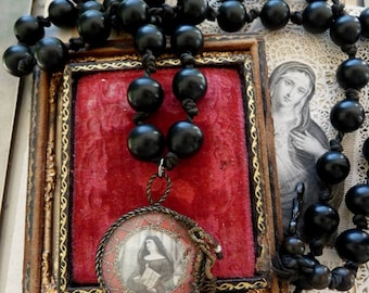 Antique French Nun Rosary with Handmade Relic, offered by RusticGypsyCreations