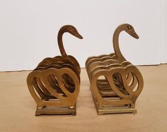 Pair of Brass Swan Napkin Holders
