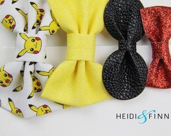 SALE Pokemon Hairbow SET of 4 Hairclip headband Holiday pikachu yellow black red gold
