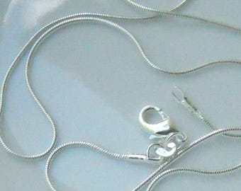 1 22 inch silver plated 2mm snake chain with Lobster Claw Clasp   FAST SHIPPING