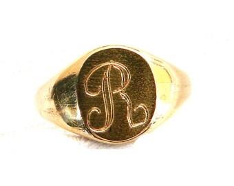Vintage Victorian 10K Gold Filled Initial Signet Ring Band - Monogrammed Letter R - Traditional 1960's - Size 5 1/2 - Signed