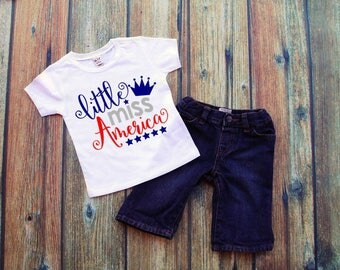 Little Miss America 4th of July Shirt bodysuit