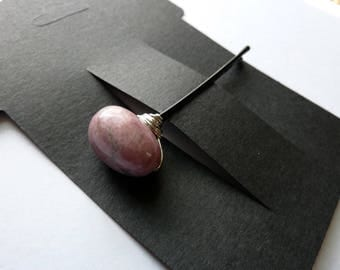Rhodonite Bobby Pin - Big Pink Stone - Gemstone Bobby Pin