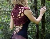 RESERVED Lace Faery Crochet Mandala Shrug Vest in Mahogany