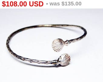 Spring Fling Sale Victorian Sterling Silver Shell Bracelet - ByPass Cuff - Vintage Early 1900's - Dainty Thin Hammered Silver Antique Bra...