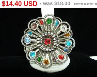 Vintage Rhinestone Flower Brooch - Two Layered Multi Colored 1960's Floral Pin