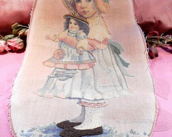 Linen Embroidered Child and Doll Pastel Colors