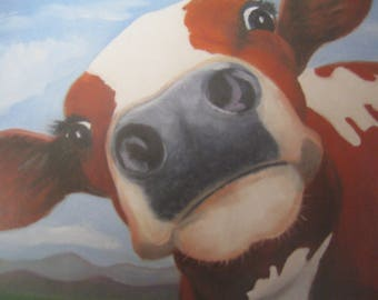 Whimsical COW PRINT With MAT Red & White Cow Barnyard Animal Cow Portrait Cute Cow Print Farm Animal Art Kid's Decor Karen Snider