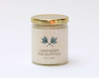 Lavender Eucalyptus Soy Candle Jar - 9 oz - all natural, eco-friendly 100% soy wax candle