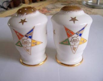 Order of Eastern Star Salt and Pepper Set, Vintage China, Made in England by Royal Stafford