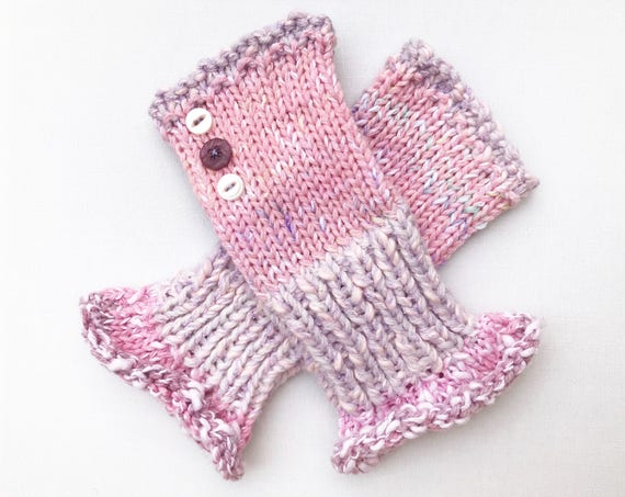 Pink Fingerless Mittens - Vintage Pink Frilly Fingers - Ladies' Pink Fingerless Mittens with Frilly Cuffs - Gift for Mom - Mother's Day Gift