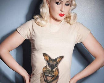 Kangaroo pouch with Joey on Various colours of ladies t-shirt  S M L XL
