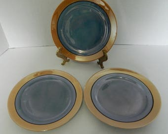 Lustreware Hand painted Blue & Peach Luncheon Plates Made in Japan Lot of Three