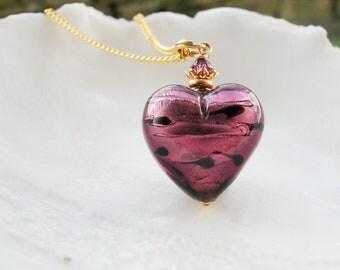 Purple Heart Necklace In Murano Glass