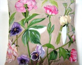 Peonies and Pansies Pillow 14x14 Hand Painted Original Art Spring Summer Soft Elegance Decorative Pillow Cottage Chic Home Decor