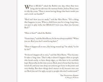 Literature Art Print, Velveteen Rabbit Quote, What is Real, wedding gift