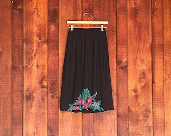 Vintage 1990s Black Embroidered Bali Cutout Maxi Skirt