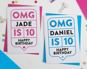 OMG Any Age Personalised Birthday Card   Custom Birthday card   Personalised Birthday Card   Bespoke Birthday Card   21st Birthday Card