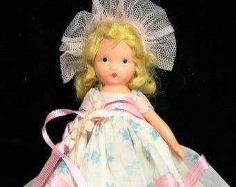 Nancy Ann Story Book Doll, 5.5 Inch Blonde Bisque Body, Frozen Legs. 1940s Vintage Toy 218