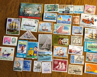35 worldwide Ships Boats Sailboats Water craft vintage Postage Stamps paper crafting collecting collage cards scrapbooks altered art 9b