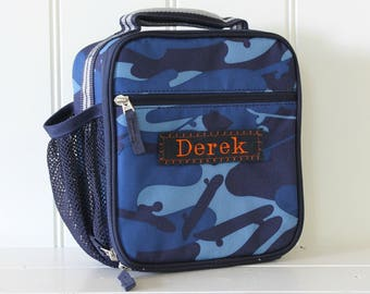 Kids Personalized Lunch Bag -- Pottery Barn Classic Style -- Navy With Striped Strap Camo