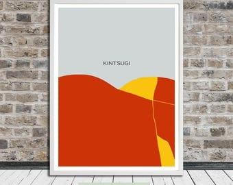 Kintsugi heart mountain poster, Kintsukuroi, Japanese aesthetics, Broken Heart, Fixed Heart, Printable Art, Instant Digital Download