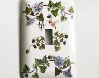 Clematis Vines with Berries Light Switch Cover, Flowering Vines, Hummingbird, Gift for Gardeners and Flower Lovers