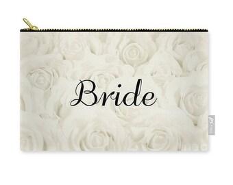"""Light Ivory """"Bride"""" Makeup Bag, Clutch, Pouch, floral print, gift for bride bridal gift, bridal shower gift destination wedding- 1610IVBRIDE"""