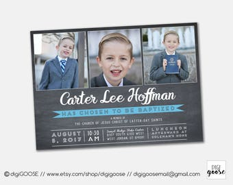 SAME DAY // LDS Baptism invitation // Boy Invite // Printable Baptism Invitation // Boy Lds Baptism // Printable // Chalkboard Invite