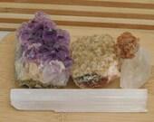 Stone Lot Citrine Amethyst Selenite Quartz  Aragonite Specimens Quartz Collector Healing Collection 13 oz 5 Piece Rock Cluster Druzy Lot