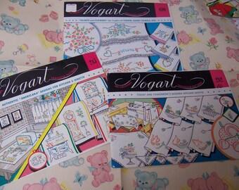 three lovely original vogart transfer patterns